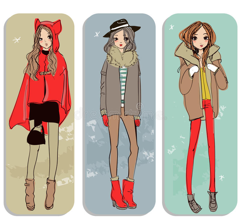 Cute cartoon girls royalty free illustration