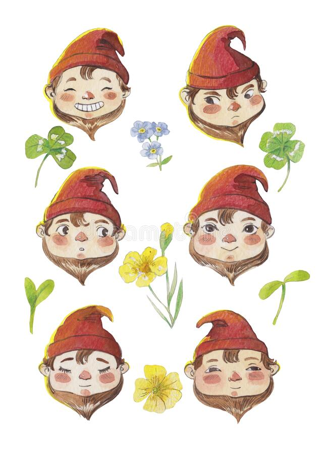 Cute cartoon gnome faces set. Watercolor portraits of gnome on white background. Hand-draw vector illustration