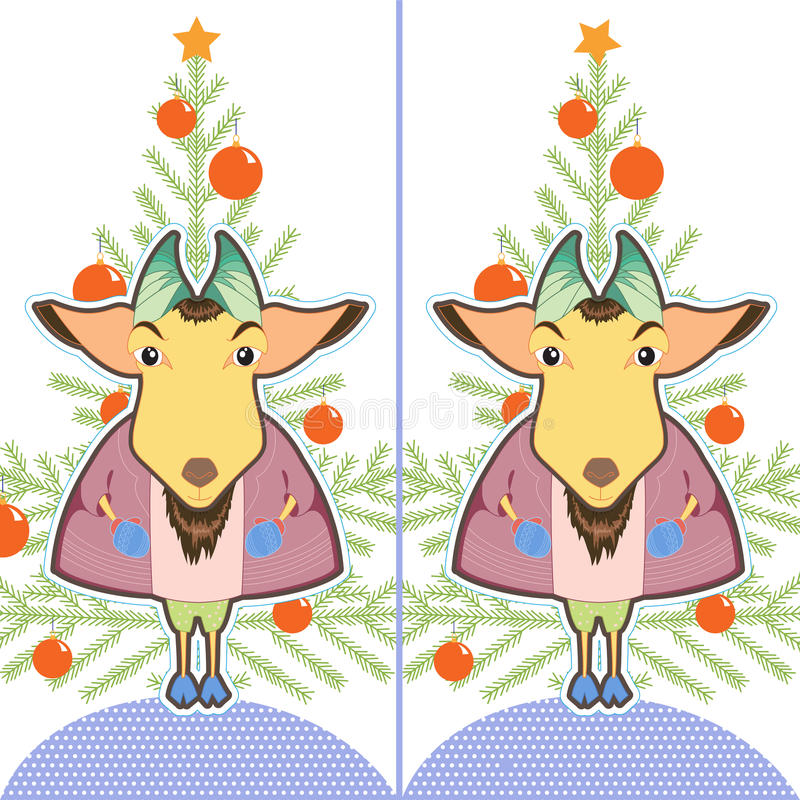 Cute cartoon Goat ling. Find the ten differences between the two pictures. Puzzle for kids. New Year brain teaser. Eps 8 vector illustration