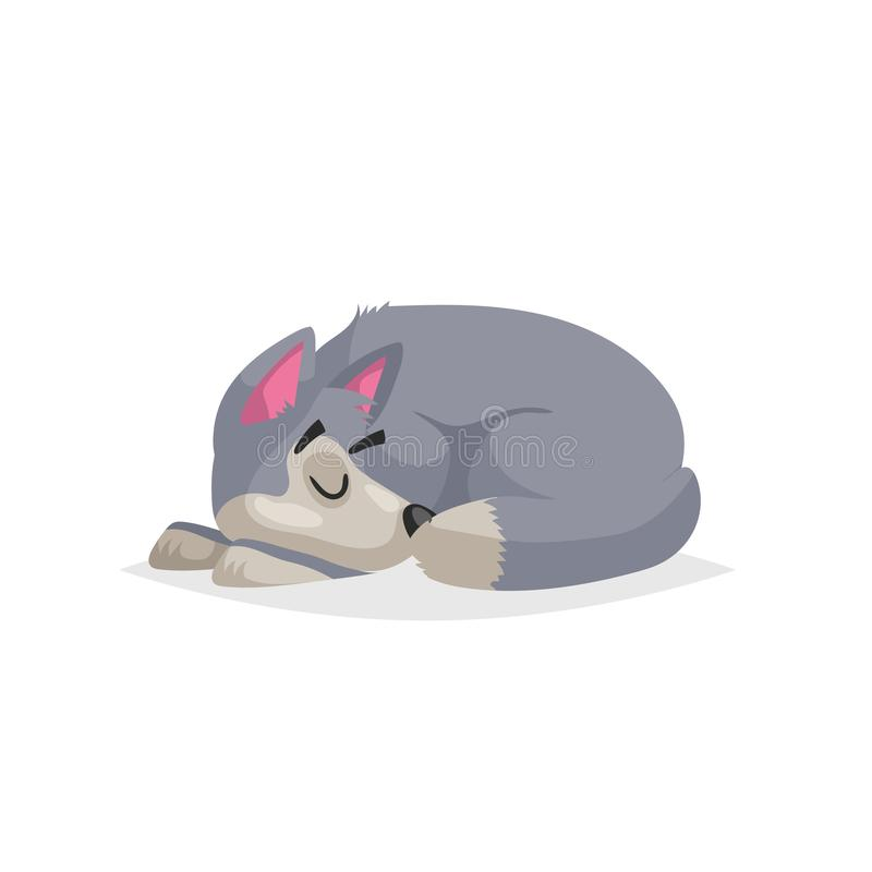 Cute cartoon gray dog sleep. Pet animal. Flat with simple gradient illustration. Farm animal. Vector drawing royalty free illustration