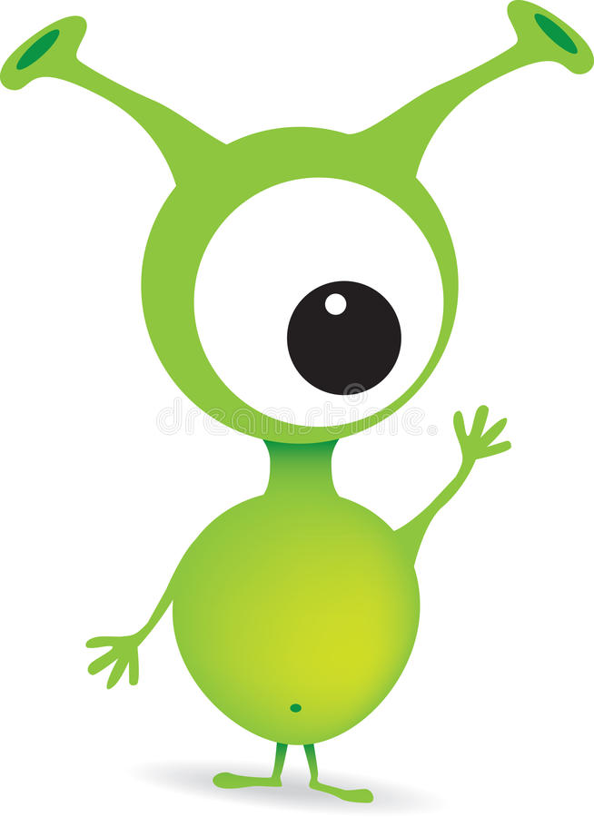 cute cartoon green alien monster stock illustration illustration rh dreamstime com green alien cartoon name green alien cartoon