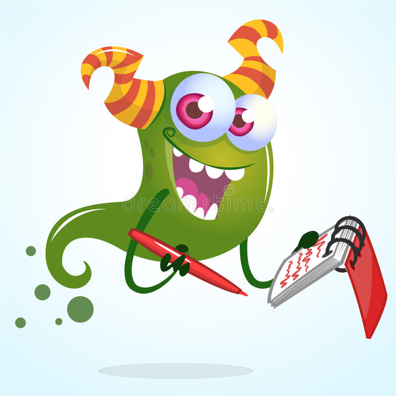Cute cartoon green horned ghost with pen and notebook. Vector character royalty free illustration