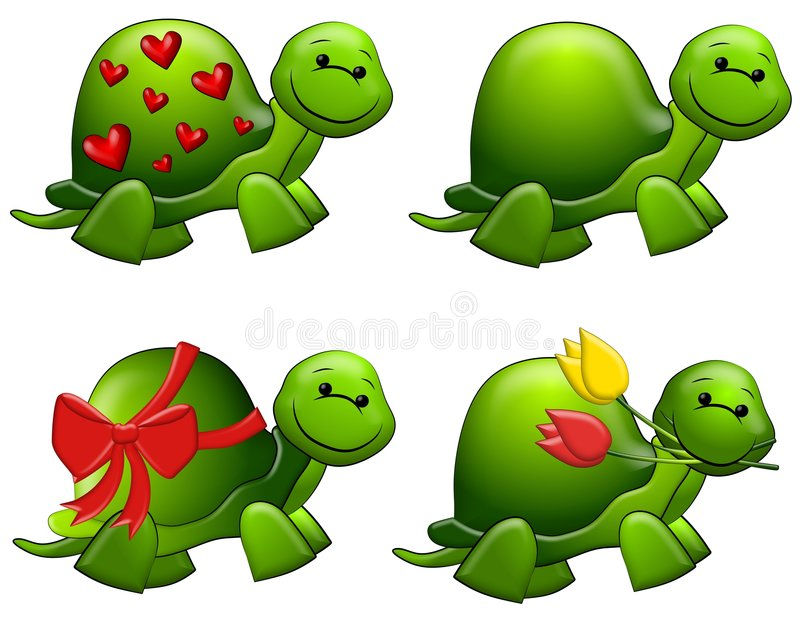 Cute Cartoon Green Turtles Clip Art. A clip art illustration featuring your choice of 4 cute green turtles - one with hearts on it's shell, one wrapped in a bow
