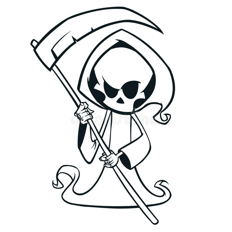 Cute cartoon grim reaper with scythe isolated on white. Cute Halloween skeleton death character outlines. Line art for coloring book royalty free illustration