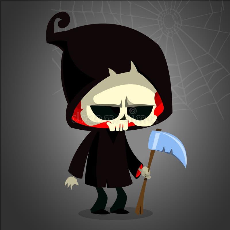 Cute cartoon grim reaper with scythe on white. Vector illustration. stock illustration