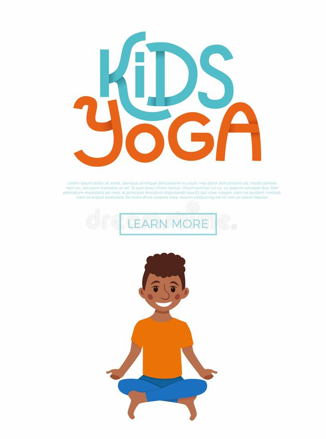 Kids yoga flayer. Cute cartoon gymnastics for children and healthy lifestyle sport illustration. Vector concept happy African kids exercise poses and yoga asana vector illustration
