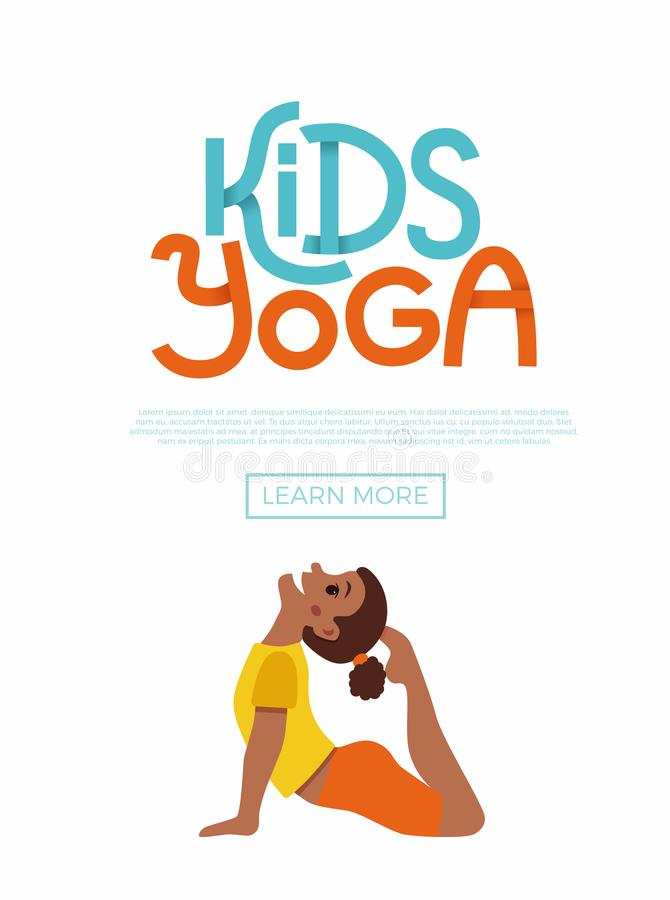 Kids yoga flayer. Cute cartoon gymnastics for children and healthy lifestyle sport illustration. Vector concept happy African kids exercise poses and yoga asana stock illustration