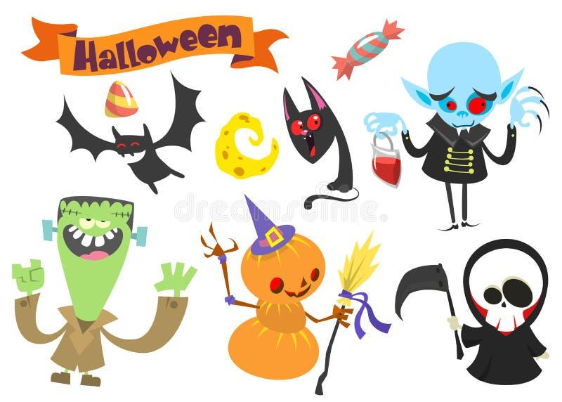 Cartoon set of Halloween symbols. Vector illustration royalty free stock photos