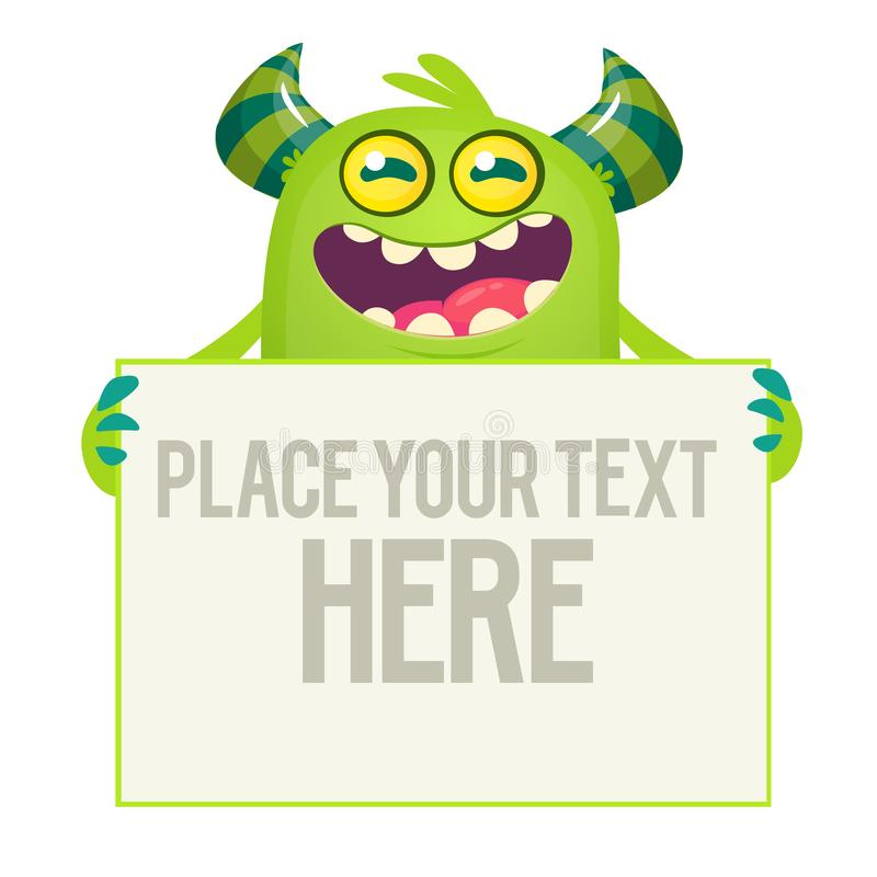 Cute cartoon Halloween monster holding a large sign with sample text. On it vector illustration