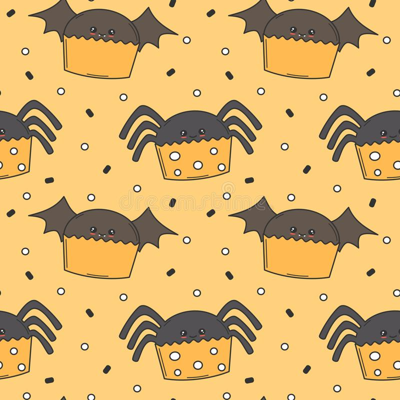Cute cartoon halloween seamless vector pattern background illustration with spider and bat cupcakes royalty free illustration
