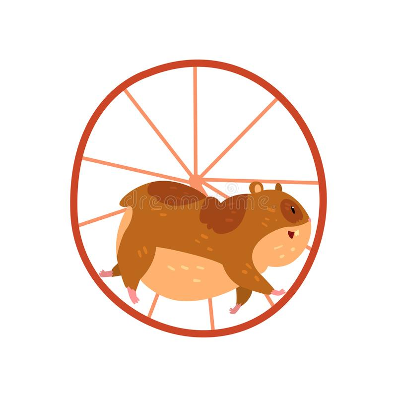 Cute cartoon hamster character running in wheel, funny brown rodent animal pet vector Illustration on a white background. Cute cartoon hamster character running stock illustration