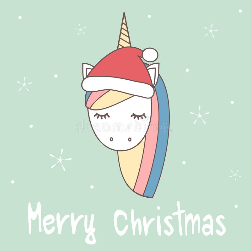 Cute cartoon hand drawn merry christmas vector greeting card with unicorn with santa`s hat stock illustration