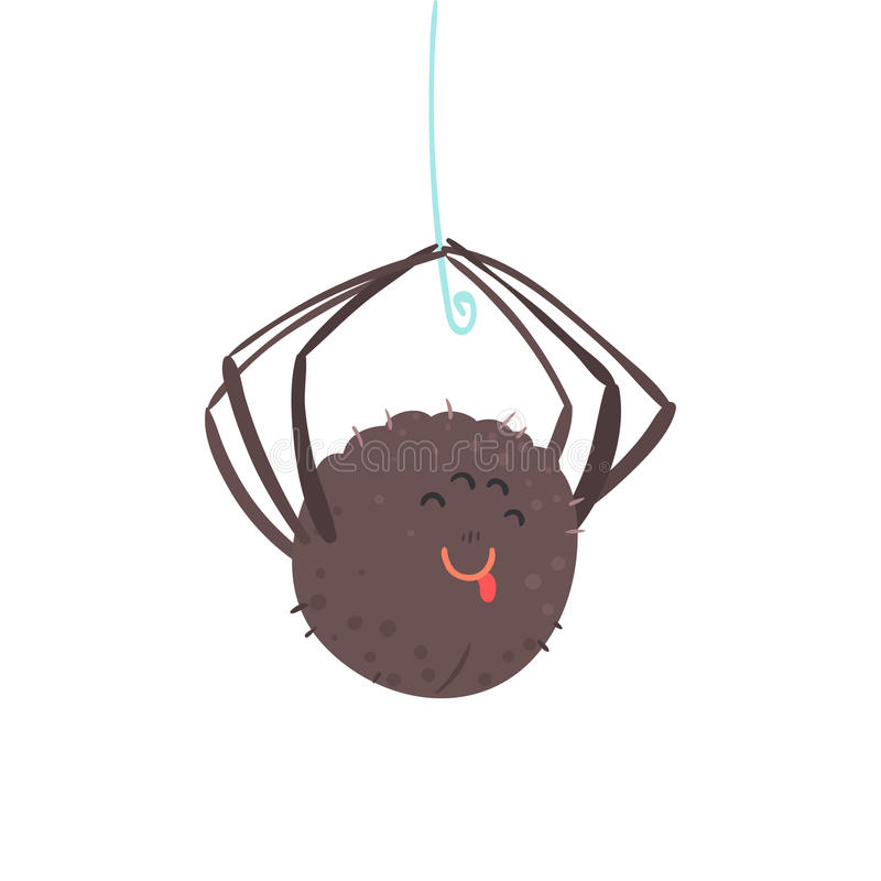 Cute cartoon hanging spider character vector Illustration royalty free illustration