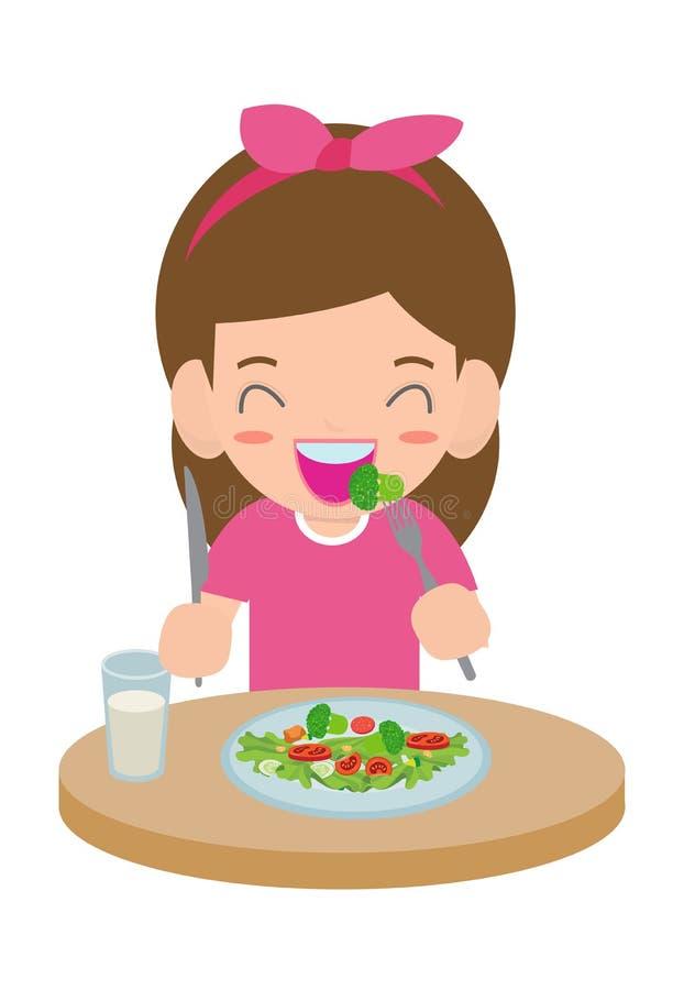 Cute cartoon happy girl eating salad. Healthy vegetable food and children vector illustration. Cute cartoon happy girl eating salad. Healthy vegetable food and royalty free illustration