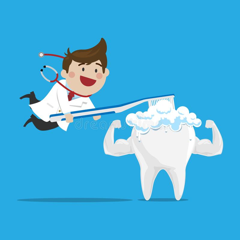 Happy Male Doctor Brushing the Strong Tooth on iSolated Background. Cute cartoon Happy Male Doctor Brushing the Strong Tooth on iSolated Background, Flat Cartoon royalty free illustration