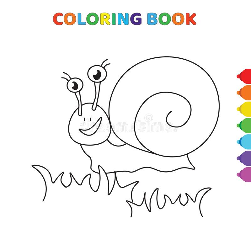 Cute cartoon happy snail on grass coloring book for kids. black and white vector illustration for coloring book. happy snail on. Grass concept hand drawn royalty free illustration
