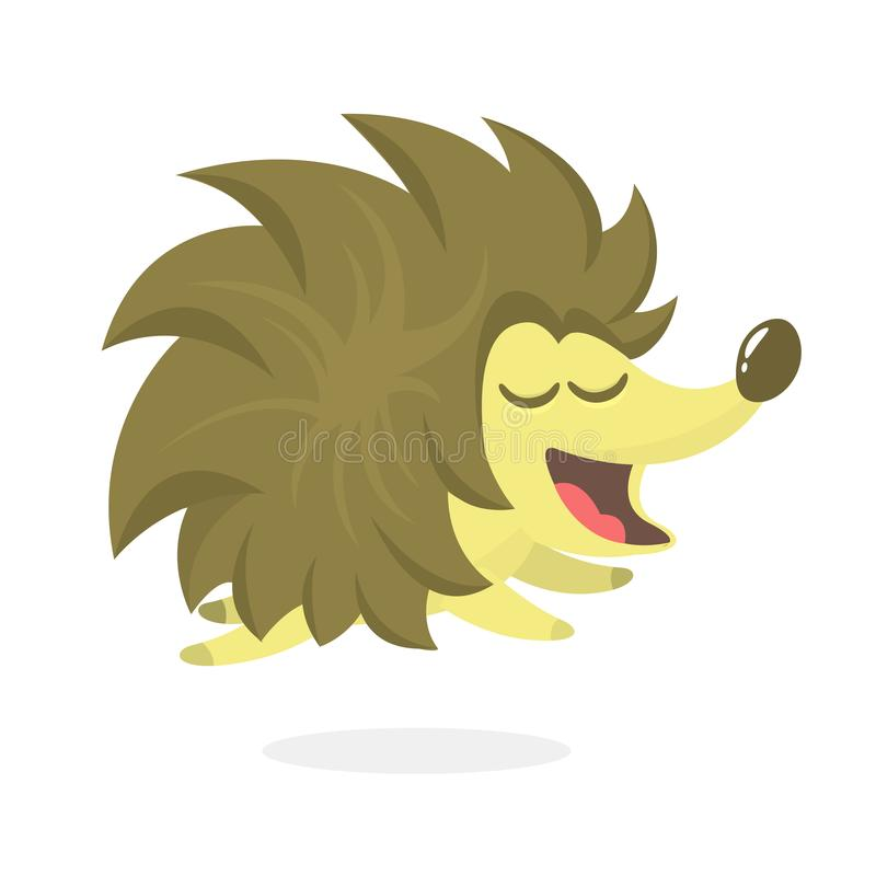Cute cartoon hedgehog character. Wild forest animal collection. Baby education. Isolated on white background. Vector illustration. royalty free illustration