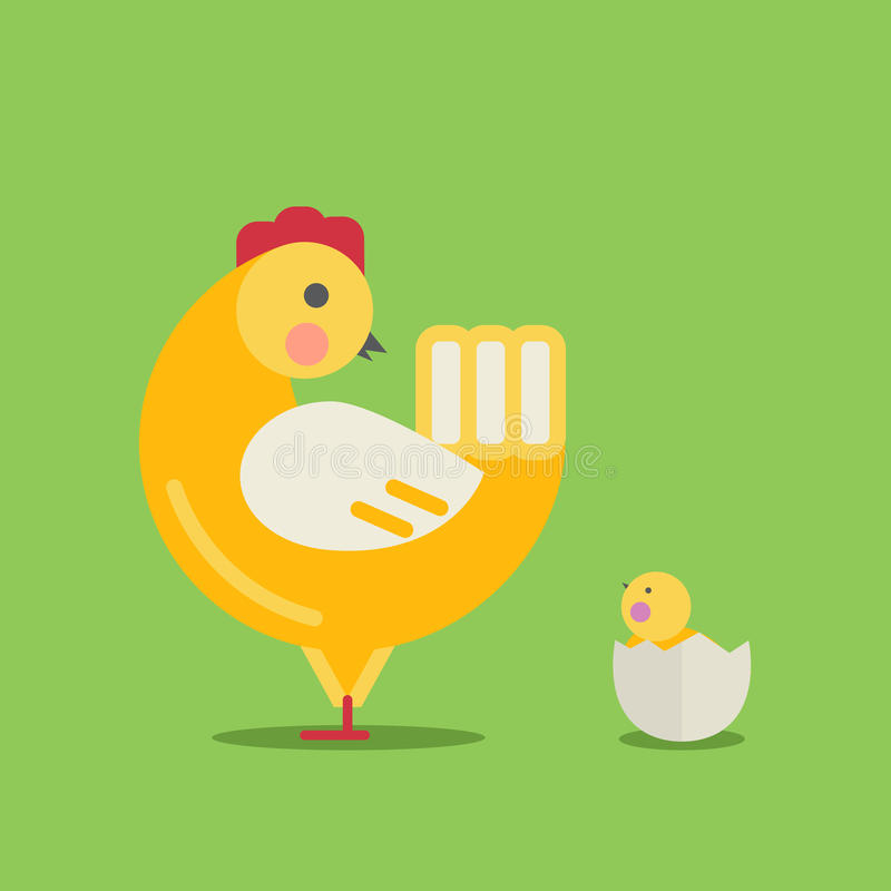 Cute cartoon hen and chick vector illustration