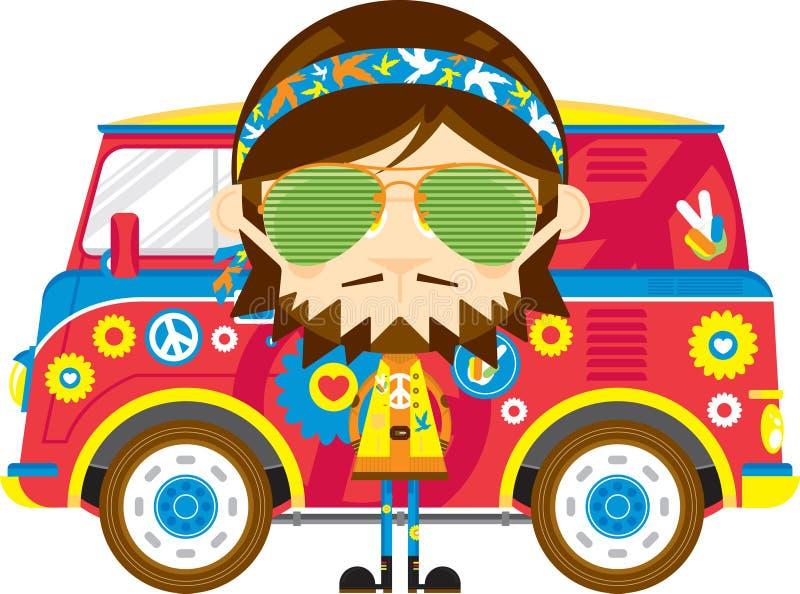 Cute Cartoon Hippie and Van. Cute Cartoon Sixties Flower Power Headband Hippie Character in Sunglasses with Van - by Mark Murphy Creative royalty free illustration