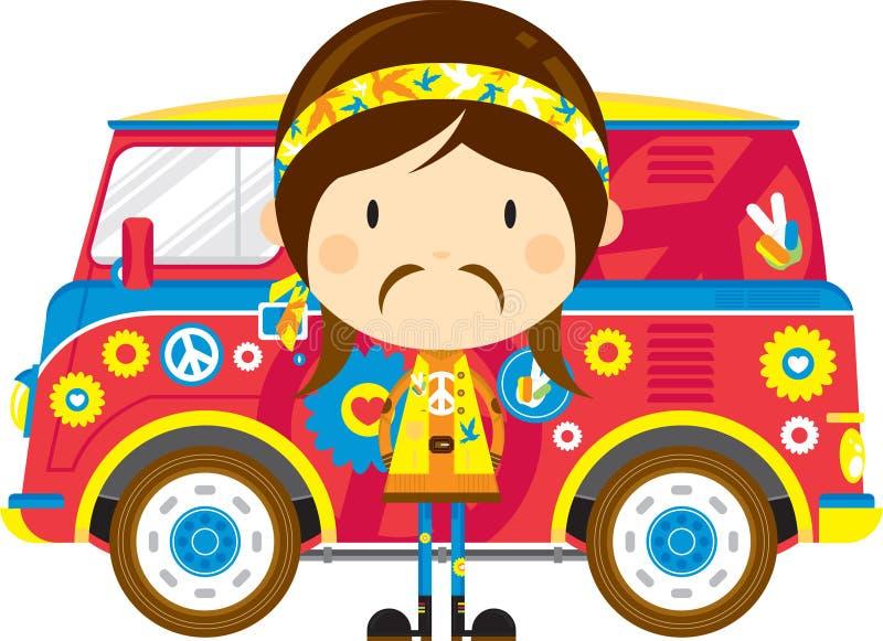 Cute Cartoon Hippie and Van. Cute Cartoon Sixties Flower Power Hippie and Retro Camper Style Van - by Mark Murphy Creative vector illustration