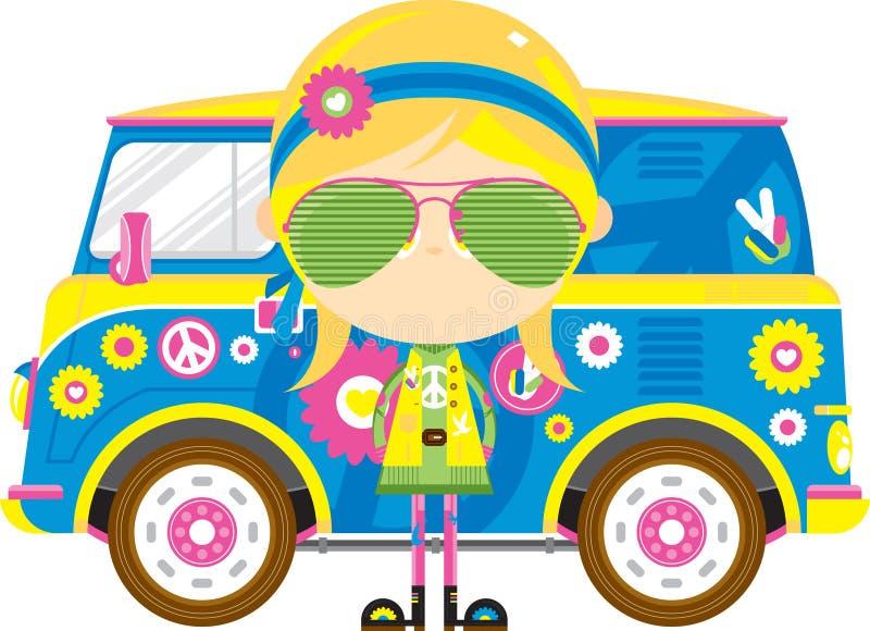 Cute Cartoon Hippie and Van. Cute Cartoon Sixties Flower Power Hippie in Shades with Retro Camper Style Van - by Mark Murphy Creative vector illustration