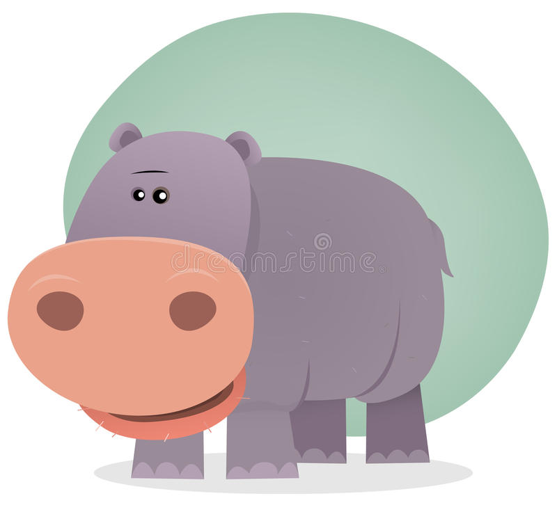 Download Cute Cartoon Hippo stock vector. Image of character, comic - 23417289