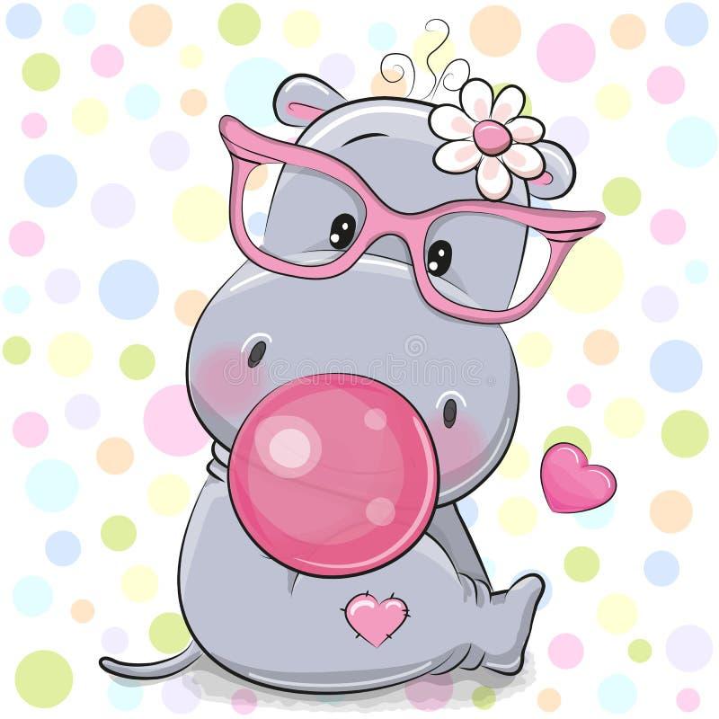 Cute Cartoon Hippo with bubble gum. Cute Cartoon hippo in a pink glasses with bubble gum vector illustration
