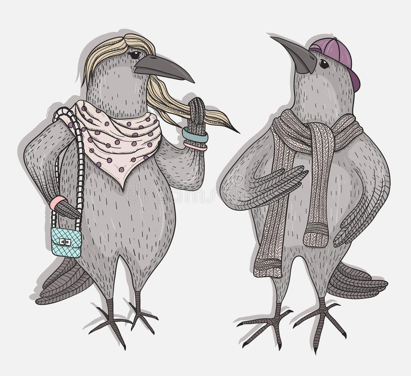 Cute cartoon hipster crows royalty free illustration