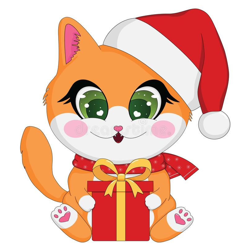 Cute cartoon holiday illustration of ginger baby cat with Christmas gift box stock photography