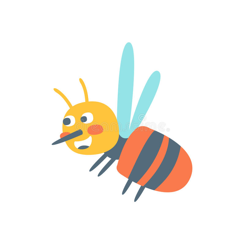 Cute cartoon honey bee, colorful character vector Illustration vector illustration