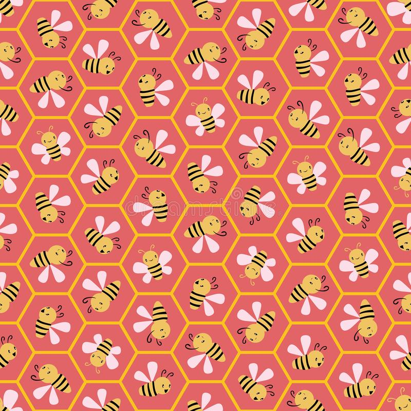 Cute cartoon honey bees in honeycomb cells. Seamless geometric vector pattern on coral pink background. Great for stock illustration