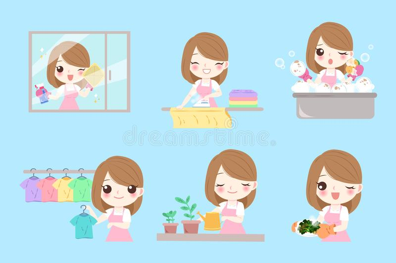 Cute cartoon housewife. Do work on the blue background vector illustration