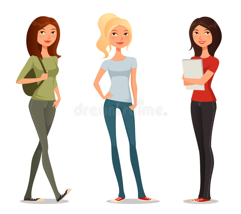 Free Cute Cartoon Illustration Of Teenage Girls Royalty Free Stock Images - 44405619