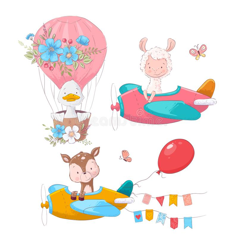 Cute cartoon illustration set air transport airplane helicopter and balloon hand drawing style. Vector illustration stock illustration