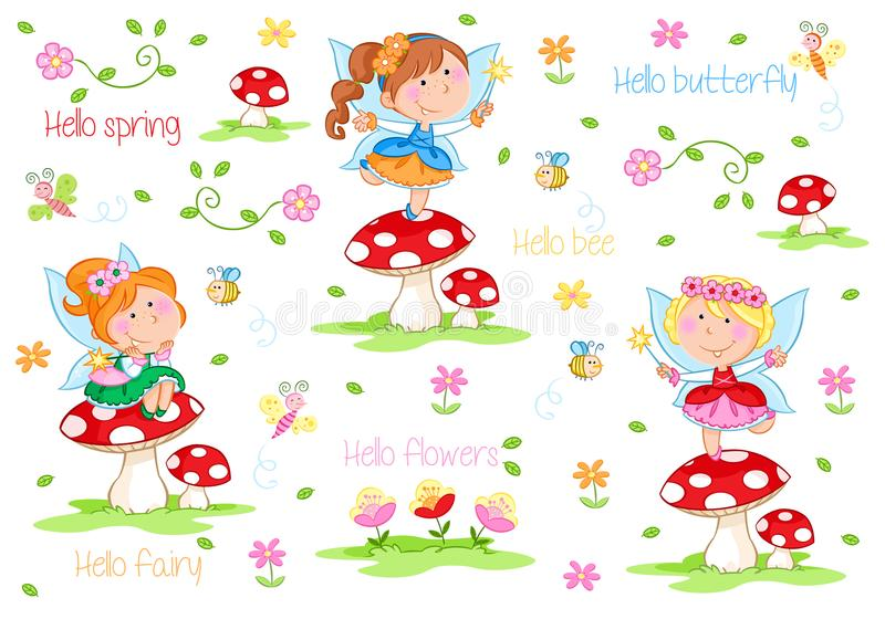 Hello Spring - Adorable little fairies and spring garden. Cute cartoon illustration - Spring fairies and flowers - Isolated elements on the white background royalty free illustration