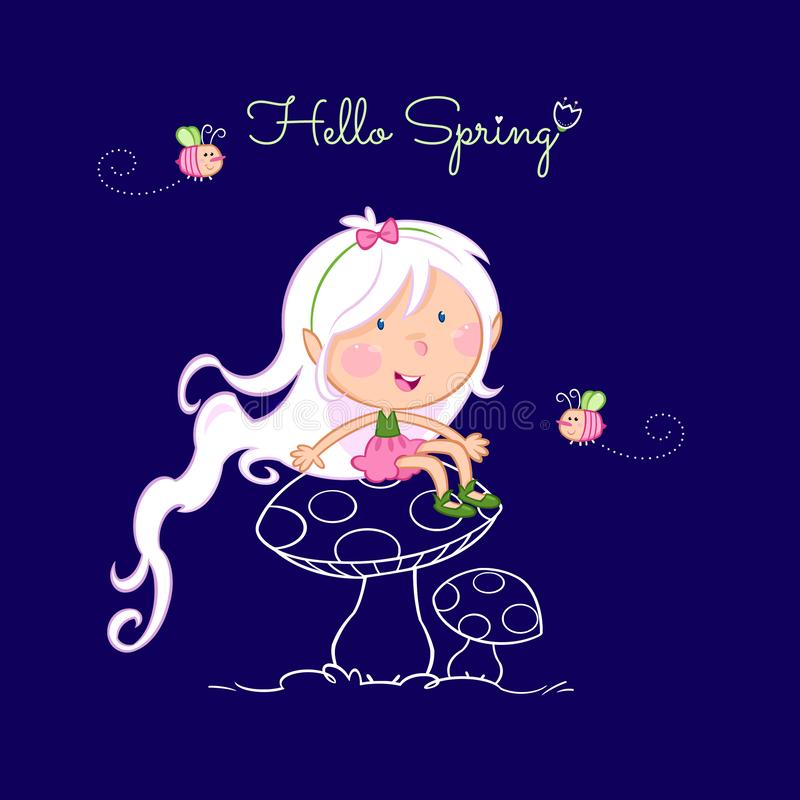 Hello spring - cute little fairy and the bee royalty free illustration