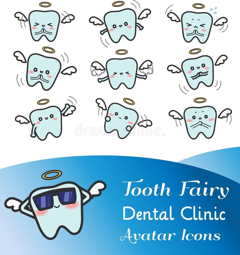 Cute cartoon illustration of tooth fairy avatar icon set vector illustration