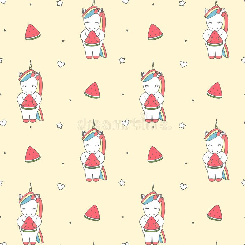 Cute cartoon illustration with unicorn eating watermelon slice seamless vector pattern background illustration vector illustration