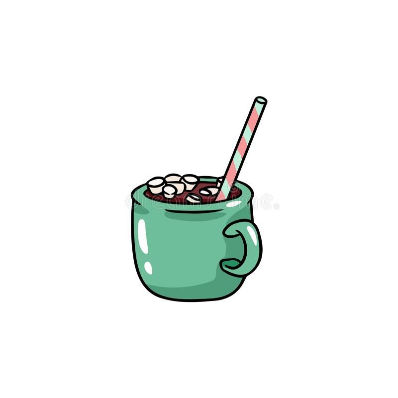 Cute cartoon image with a cup of hot chocolate and marshmallow stock illustration
