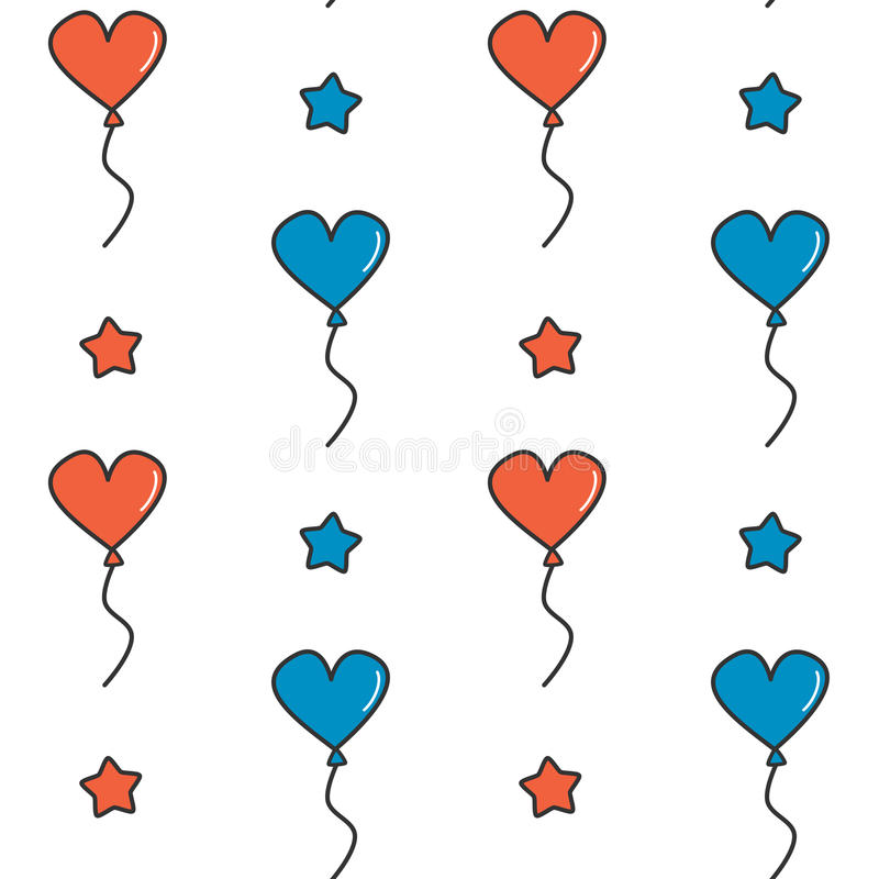 Cute cartoon independence day seamless vector pattern background illustration with blue and red heart balloons and stars royalty free illustration
