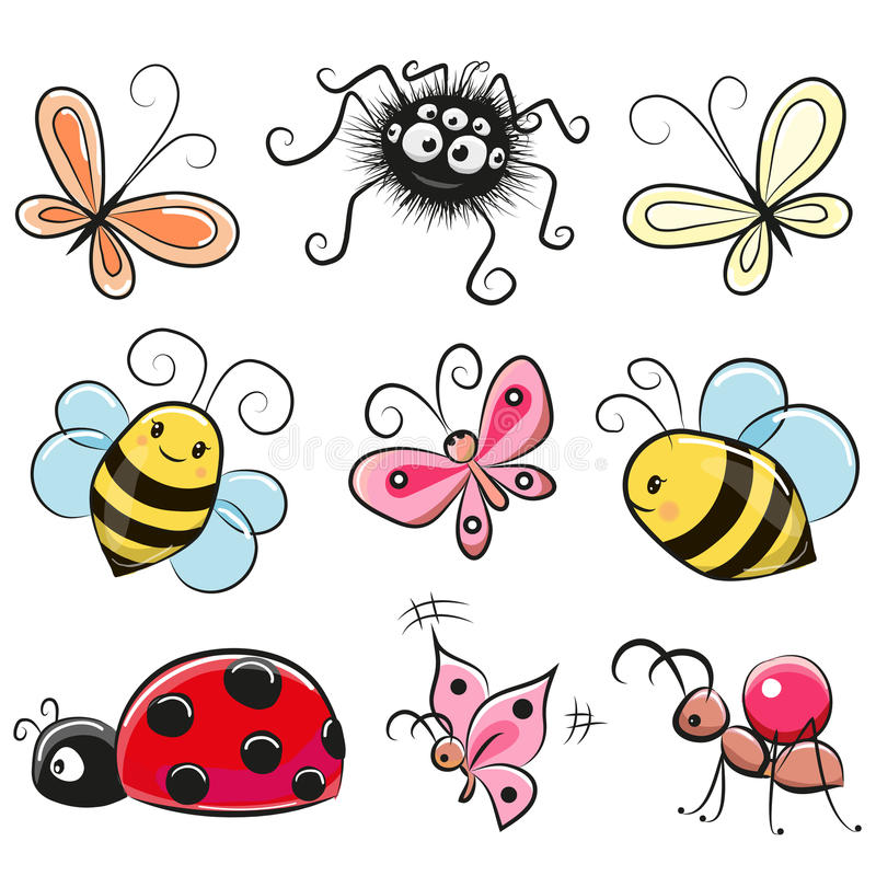 Cute Cartoon insects. Isolated on a white background royalty free illustration