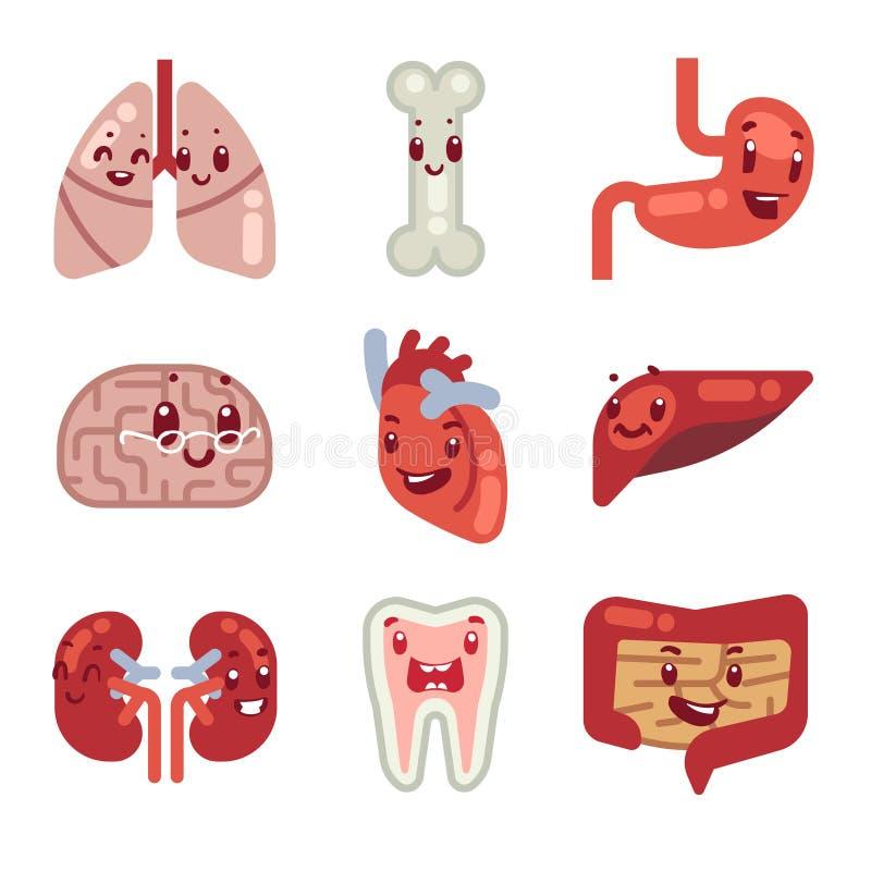 Cute Cartoon Internal Organs Vector Icons Stock Vector