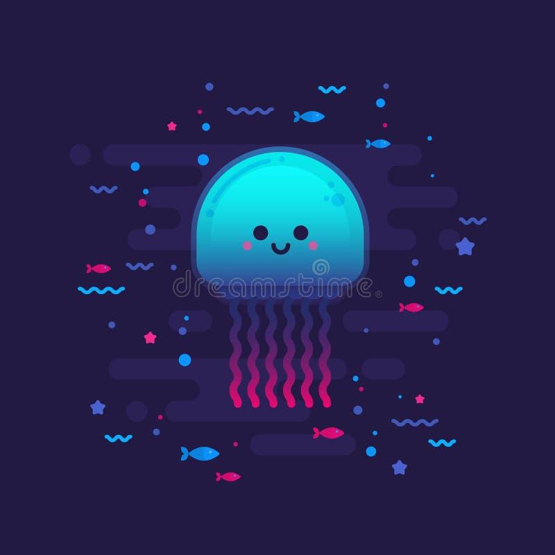 Cute cartoon jellyfish character vector illustration