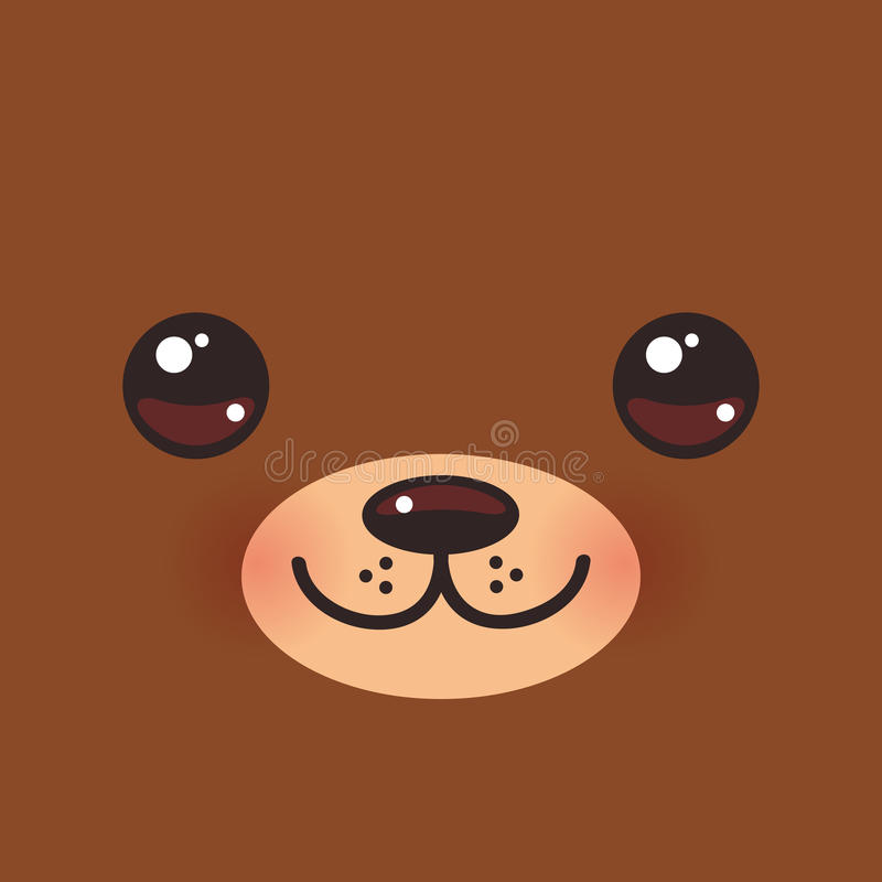 Cute Cartoon Kawaii funny brown bear muzzle with pink cheeks and big eyes. Vector stock illustration