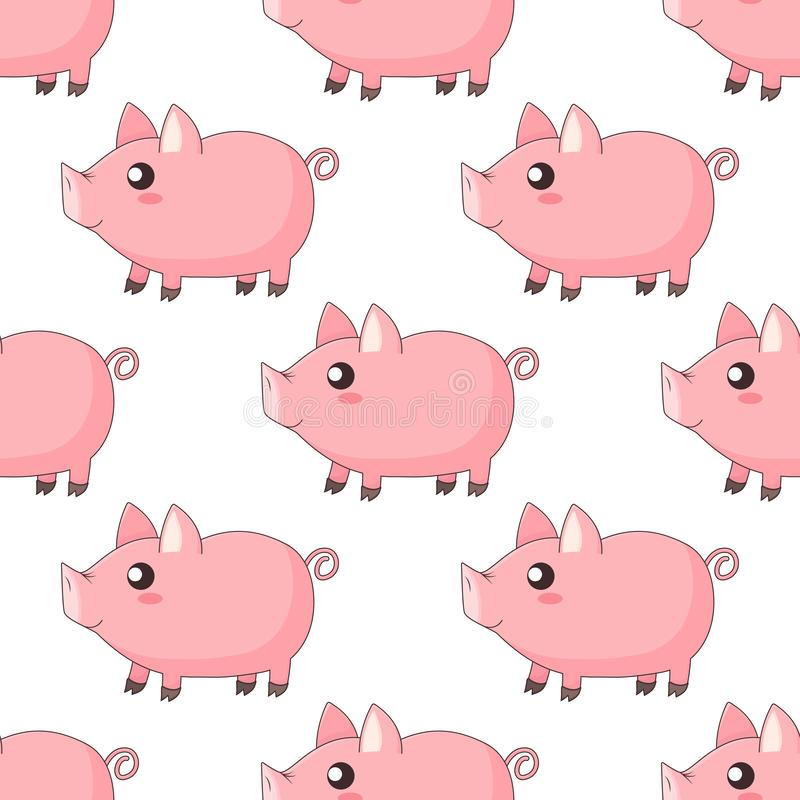 Cute cartoon kawaii piglets, piggy standing in profile. On white background, vector seamless pattern stock illustration