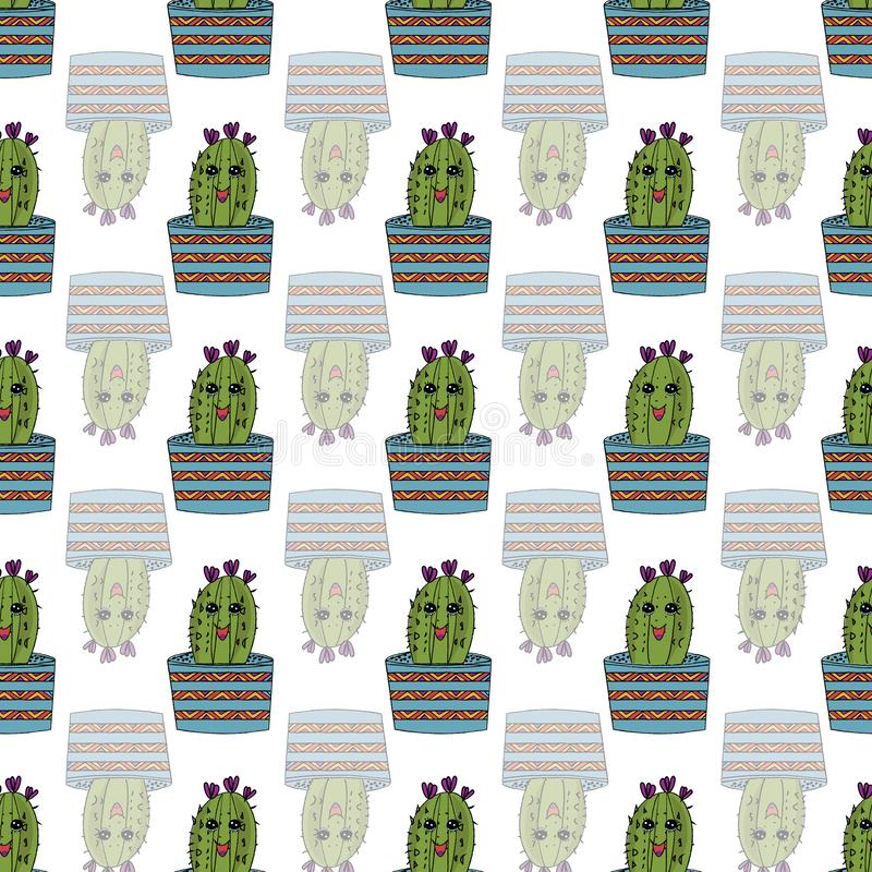 Cute cartoon kawaii style hand drawn cacti seamless pattern background royalty free illustration