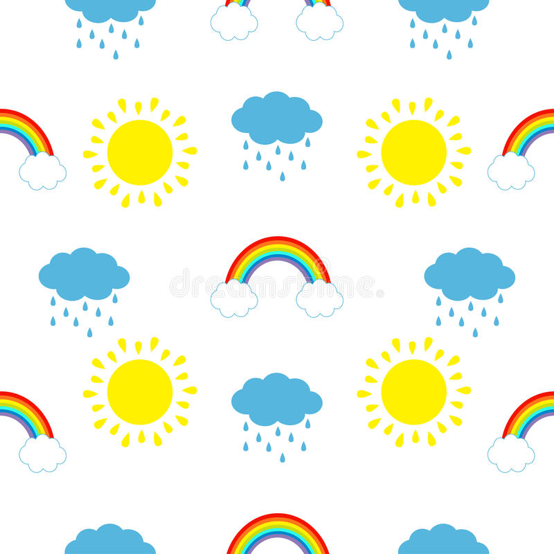 Cute cartoon kawaii sun, cloud with rain, rainbow set. Baby Seamless Pattern Wrapping paper, textile template. White background. F royalty free illustration