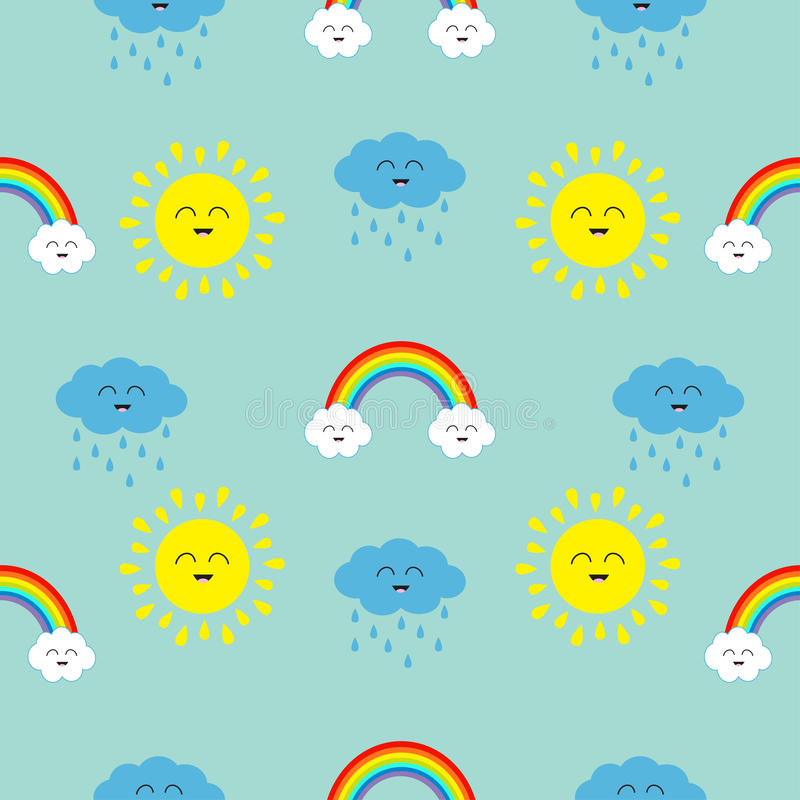 Cute cartoon kawaii sun, cloud with rain, rainbow set. Smiling face emotion. Baby character Seamless Pattern Wrapping paper stock illustration