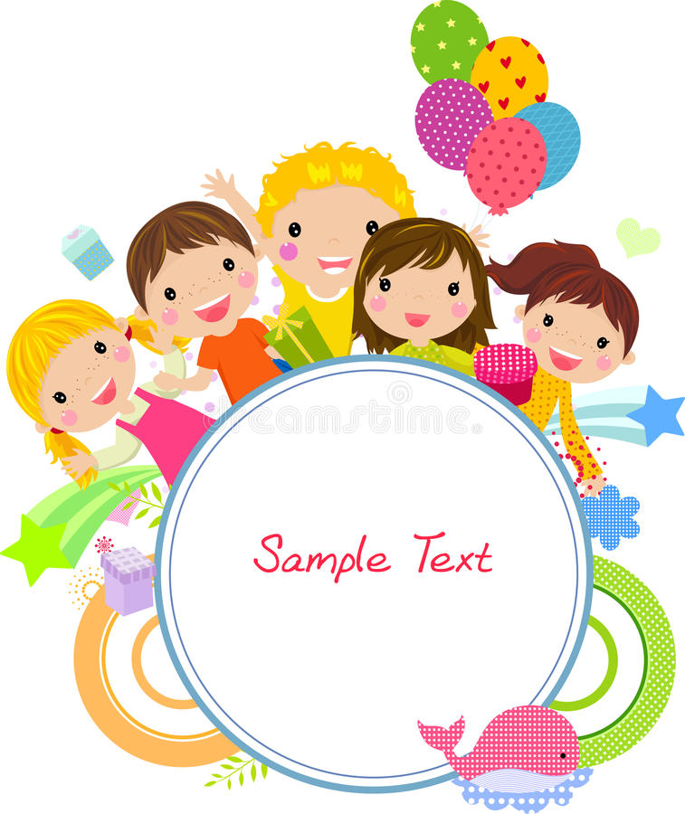 Cute cartoon kids frame vector illustration