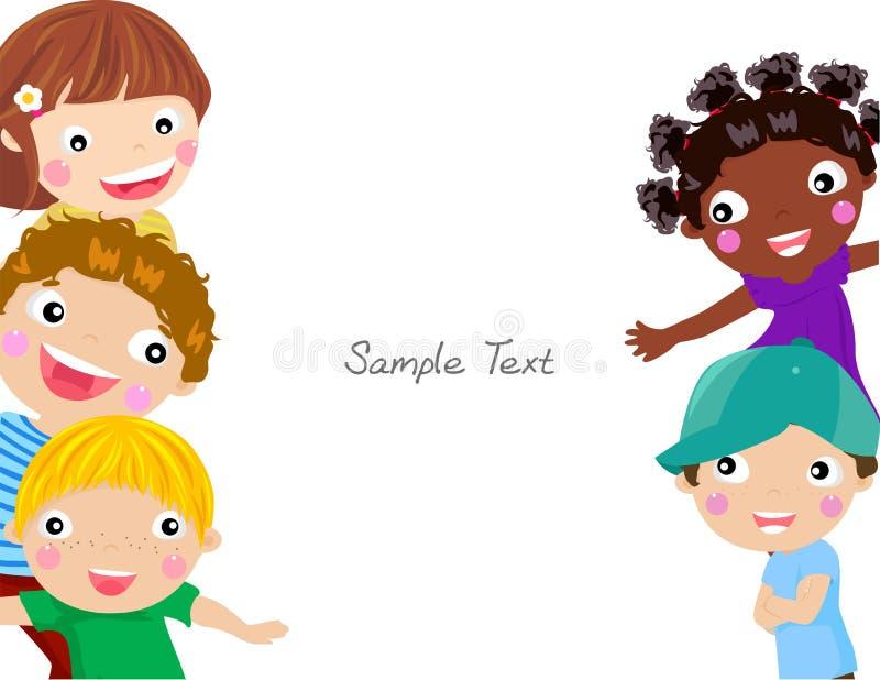 Cute cartoon kids frame royalty free illustration